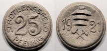 World Coins - German brown porcelain coin - 1921 - Stadt Lengsfeld, 25 pfennig - non-Meissen