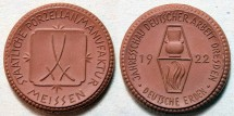 World Coins - German brown porcelain medal - Dresden, 1922