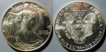 Us Coins - American Silver Eagle - 1988, bright, attractive - US Mint issue silver coin