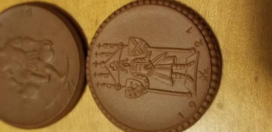 World Coins - Two German 3 Mark coins made of porcelain - Kitzingen, Meissen