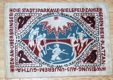 World Coins - German silk notgeld, 25 marks - healing springs