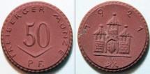 World Coins - very scarce German red porcelain notgeld - gipsform, 1921 Freiberg