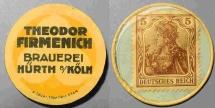 World Coins - German encased postage - Theodor Firmenich, Bruerei Hurth Koln - 5 pfennig