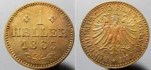 World Coins - Germany, Frankfurt, 1865 - 1 heller - red & silvery toning