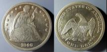 Us Coins - USA - Seated Liberty Dollar, 1846.   Nice details.  Cleaned