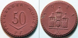 World Coins - very scarce German red porcelain notgeld - gipsform, 1921 Freiberg