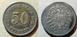 World Coins - Germany, silver 50 pfennig, 1876-F