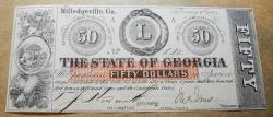 Us Coins - Obsolete currency, State of Georgia, Milledgeville, $50 uncirculated, 1862