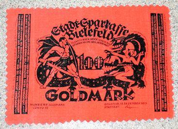 World Coins - German velvet notgeld, 100 Goldmark, orange
