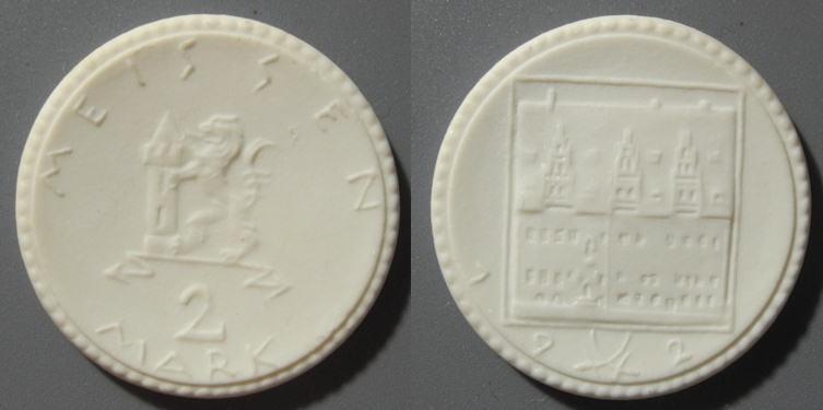 World Coins - rare German 2 mark porcelain coin - town of Meissen - gipsform!