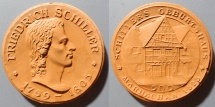 World Coins - German orange-brown porcelain medal, Friedrich Schiller - Marbach 1923