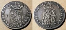 World Coins - 1749 Netherlands, Holland - silver 1 gulden - attractive!