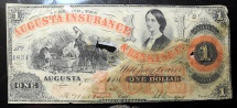Us Coins - USA Obsolete banknote - 1861 Augusta Insurance & Banking Co. Damaged
