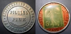 World Coins - French encased postage - Pilules Pink, 5 centimes