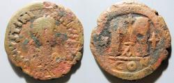 Ancient Coins - Justin I & Justinian I, 527 AD - AE follis - thick patina!