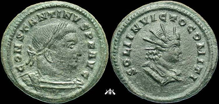 Ancient Coins - Constantine I, AE Follis of Trier, Scarce Large Head of Sol Reverse Type