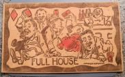 """World Coins - Oddity - Interesting leather postcard - """"Full House"""" .....a drunk and disorderly scene"""