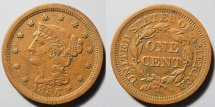 Us Coins - USA - Braided Hair Large Cent - 1856