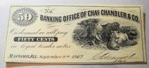 Us Coins - Civil War era currency - Banking office of Chas. Chandler & Co. - 50 Cents, 1862