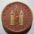 World Coins - German gold gilded brown porcelain medal - Lobau