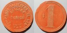 "World Coins - Chile, Vulcanite token, early 1900s, Companie Salitrern ""El Loa"""
