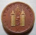 World Coins - German gold gilded brown porcelain medal - Lobau