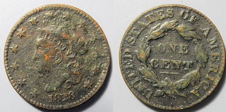 US Coins - Coronet Head Large Cent, 1828