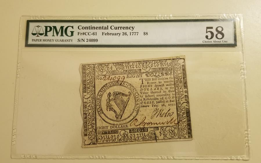 US Coins - Continental Currency, February 26, 1777 $8 PMG58