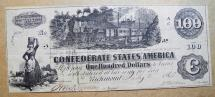 Us Coins - CSA 1862 Confederate Currency T-39 $100 Bank Note Train, etc.