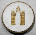 World Coins - German gold gilded white porcelain medal - Lobau 700 year celebration