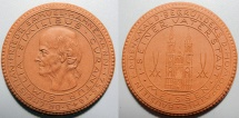 World Coins - German brown porcelain medal - Samuel Hahnemann - founder of homeopathy