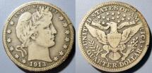 Us Coins - USA - Barber quarter, 1913-D slightly darker grey toning