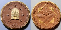 World Coins - German gold gilded brown porcelain medal - bee hive