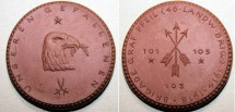 World Coins - German brown porcelain  medal -Dresden,  Brigade Graf Pfeil, 42mm