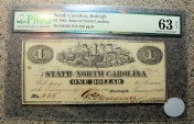 Us Coins - Civil War Currency - 1863, North Carolina, Raleigh, 1$ - PMG 63 Choice Unc