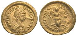Ancient Coins - BYZANTINE gold, Valentinian III, 425-455 AD, AV tremissis - Constantinople mint