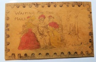 """World Coins - Interesting and curious leather postcard - """"Waiting for the Mails"""" - early 1900s"""