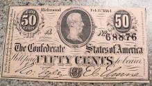 Us Coins - Confederate Currency, 50 cents, T-72, about uncirculated