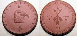 World Coins - German brown porcelain  medal -Dresden,  Brigade Graf Pfeil, 42mm