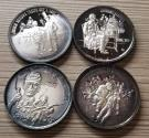 World Coins - 4 silver medals Franklin Mint, 0.999 silver.  From the History of the Civil War 40 piece set