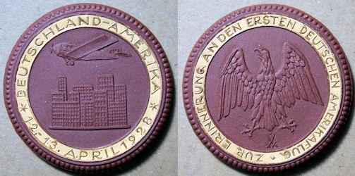 World Coins - German-America (Deutschland-Amerika) flight, 1928 medal - brown with gold gilt