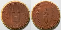 World Coins - German brown porcelain medal, gold gilding, GIPSFORM, 1923 - ST AGNES VEREIN