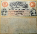 North Carolina obsolete currency - Bank of Lexington, $10 - 1860