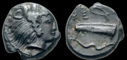 Ancient Coins - Sicily, hemilitron, Selinos, 415-409 AE - Herakles / bow & quiver
