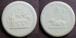 World Coins - German white porcelain medal - lamb