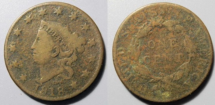US Coins - Coronet Head Large Cent, 1818 - worn