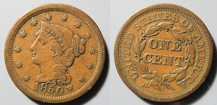 US Coins - USA - Braided Hair Large Cent - 1850