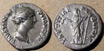 Ancient Coins - Faustina Jr., wife of Marcus Aurelius, AR denarius - attractive!