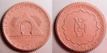 World Coins - German brown porcelain medal / coin - 20 Mark, Dresden