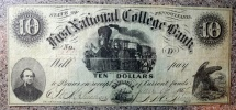 Us Coins - College currency - First National College Bank - Pennsylvania - 10 dollars